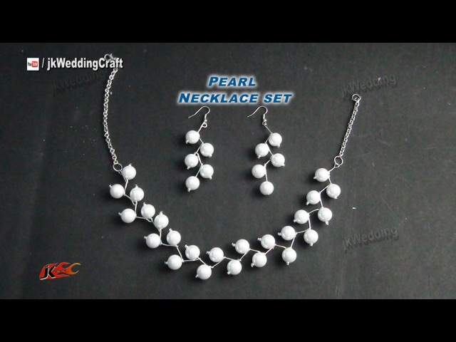 DIY Pearl Necklace Earring Set | Gift Idea, Easy, Inexpensive jewelry making | JK Wedding Craft 049