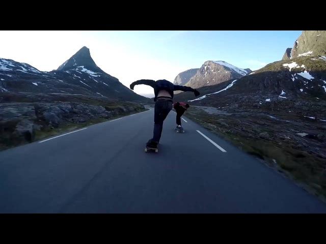 Безумный спуск на лонгборде по Лестница троллей (Норвегия)