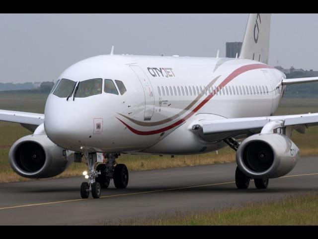 BRAND NEW CityJet Sukhoi SSJ100 Rare Visit Isle of Man Airport