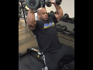 "Victor Martinez on Instagram: ""#Lastworkout2015 doing Arnold press to prep for the #ArnoldBrazil. The way you end is the way you start on top! @MhpStrong"""