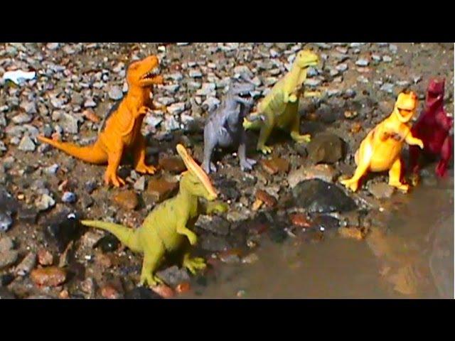 Динозавры в луже на русском Dinosaurs एक पोखर में डायनासोर Dinosaures nagent dans une piscine