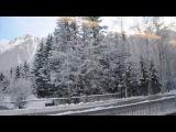 Зимний Шамони. Поездка в поезде. Очень красивый вид из окна!