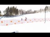 Доча встает на лыжи. Первая тренировка.