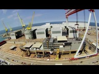 Cтроительство круизного лайнера на верфи Fincantieri в Италии