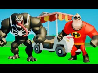 Мультик игра для детей Веном и Мистер Исключительный Суперсемейка Машинки играют с супергероями