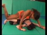 female Wrestling black Girl vs Asian Girl