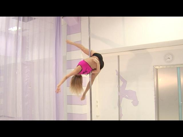 Pole dance с Анной Елисеевой продолжающие 36. Трюк Паучок с виса на внешней ноге.