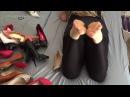 Chloe in wetlook leggings with some heels and feet