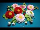 Ribbon flowers cheerful daisie Part 1 Цветы из лент веселые маргаритки Часть 1