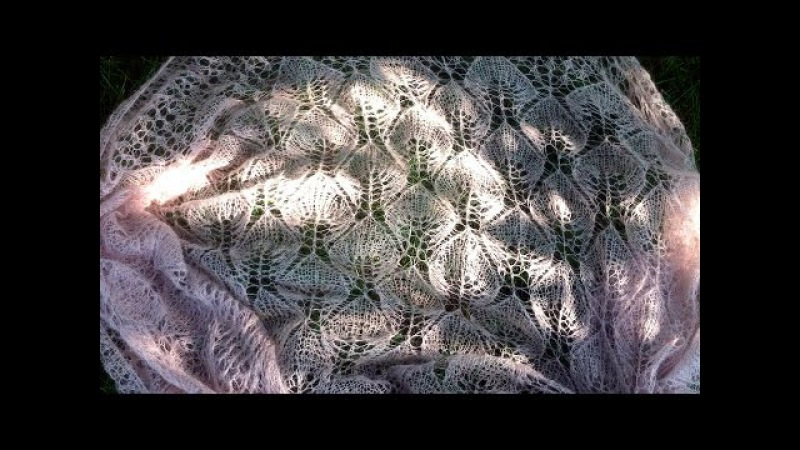 Как связать шаль (платок) «Замерзшие листья»