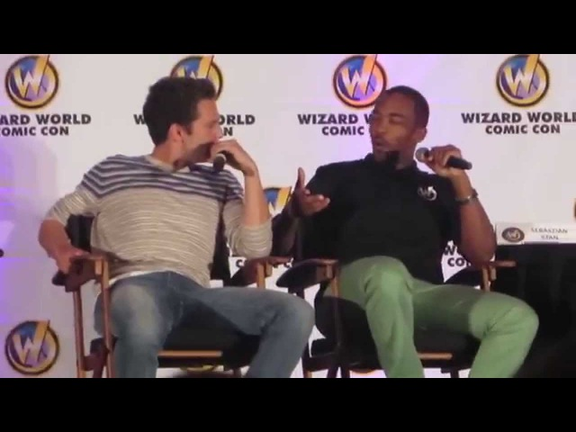 Sebastian Stan and Anthony Mackie Chris Evans left boob grab WWCCC 2014