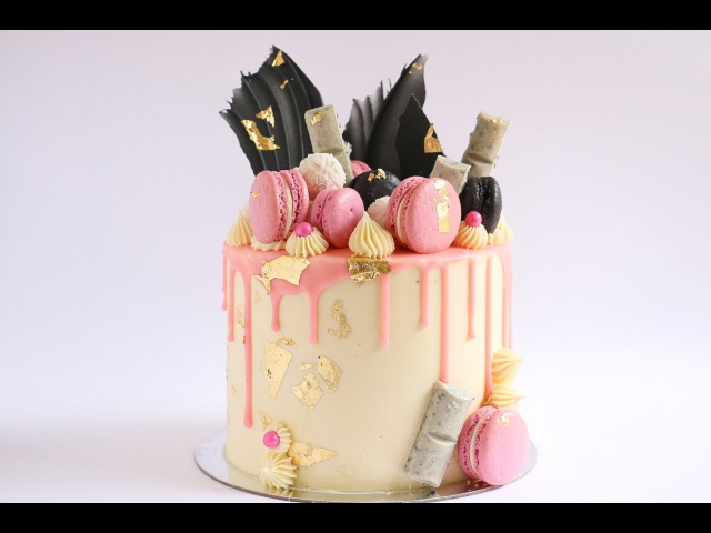 Loaded Pink Gold and Black Cake Drip Tutorial Rosie's Dessert Spot