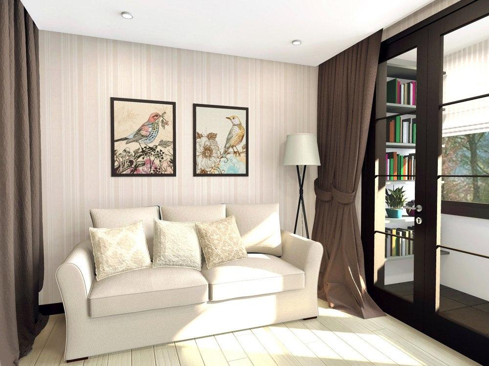 Проект студии 26 м со шкафом между кухней и гостиной.