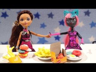 Мультик с куклами Эвер Афтер Монстер Хай: Готовим Фаст фуд гамбургер картошка фри видео для девочек