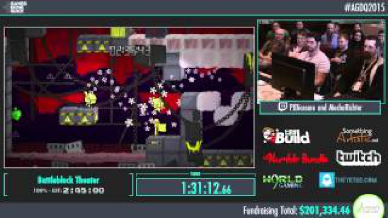 AGDQ 2015 Battleblock Theater Co-Up 100% Speed Run in 2:45:00 by PJ and Mecha Richter AGDQ2015