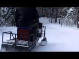Покатушки на самодельном снегоходе.