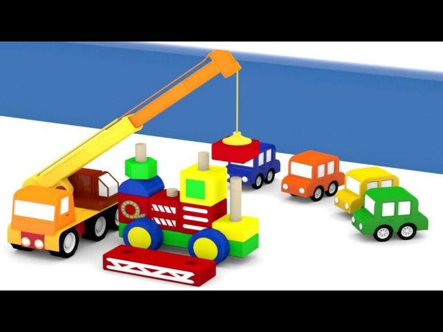 Dessin animé pour enfants de 4 voitures en français - un camion de pompier