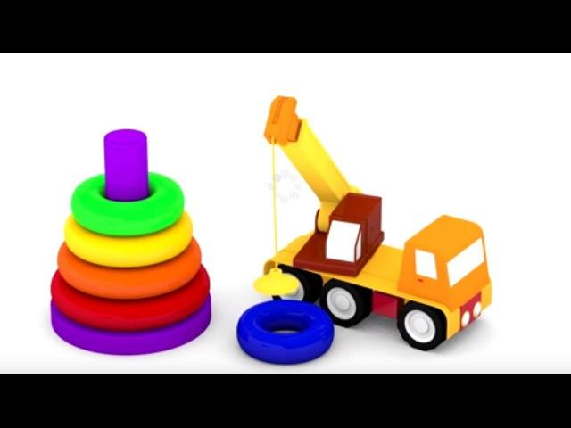 Dessin animé educatif Apprendre les couleurs Quatre voitures colorées pyramide