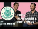 Quick Questions with Chris Hemsworth Chris Evans From AVENGERS: AGE OF ULTRON