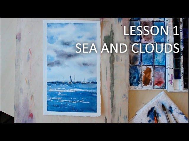 Море и облака - акварель Sea and clouds - watercolor speed painting