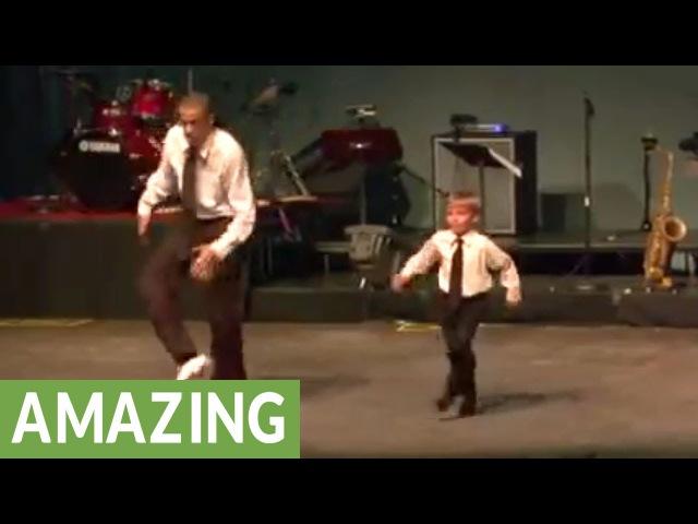 Tap dance showdown between toddler and seasoned pro