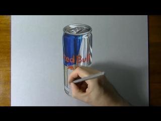 Как реалистично нарисовать банку Red Bull