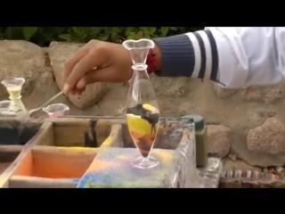 Впечатляюще красиво - Объёмное рисование песком в вазочке