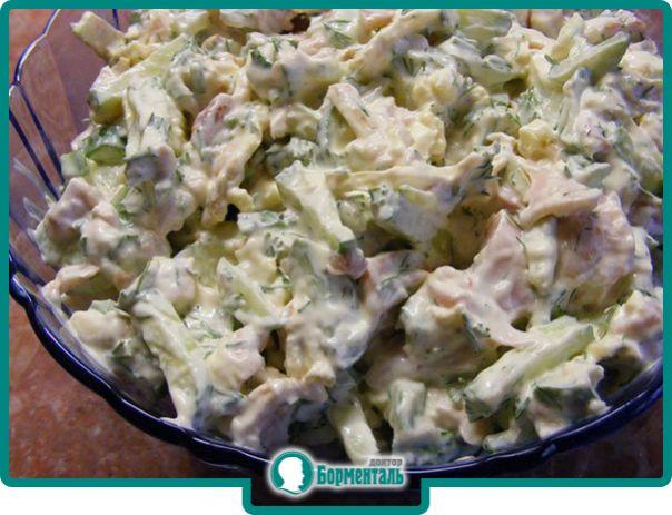 Салат из копченой грудки и огурца