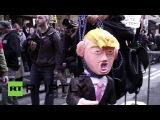 США: Несколько арестов протестующих как митинг против Дональда Трампа.