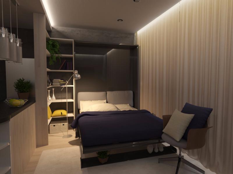 Проект студии 28 м с трансформируемой мебелью.