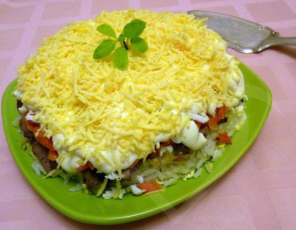 Рецепт салата с куриной печенью и рисом рецепт с