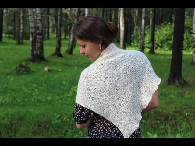Вязание спицами: простая шаль-бактус,платочной вязкой.
