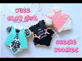 Cute baby girl onesie cookies. Baby shower cookies.   [vk.com/LakomkaVK]