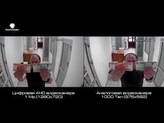 Сравнение аналоговой камеры 1000 Твл и цифровой AHD камеры. Тест записи