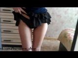 Фетиш - черные кружевные трусики под юбочкой