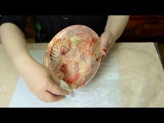 Декупаж. Поталь на тарелке. Создаем рисунок морского дна и ракушек.