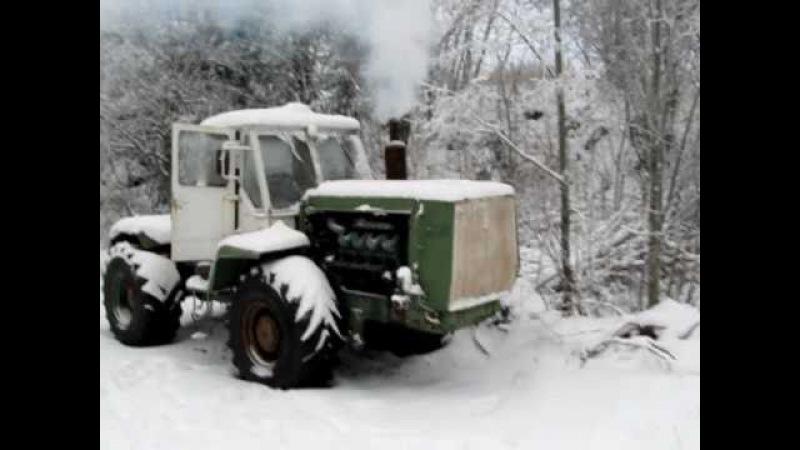 HTZ T-150KM Scania V8 Starting the Green engine -10C