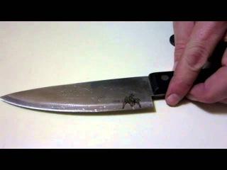 Травление ножей через трафарет и нанесение рисунка на клинок