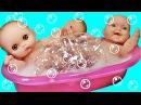 Дочки-Матери с Пупсиками. Пупсики играют, какают на горшок, купаются в ванной. Игрушки для девочек.