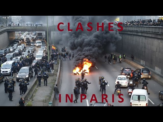 Violent clashes in Paris: Tear gas burning tires as anti-Uber protest grips French capital
