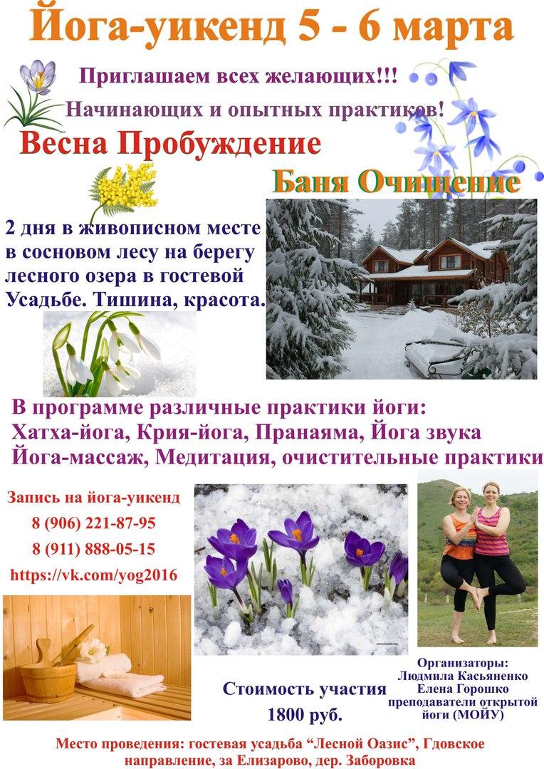 Афиша Псков Йога-уикенд 5-6 марта 2016. Йога в весеннем лесу