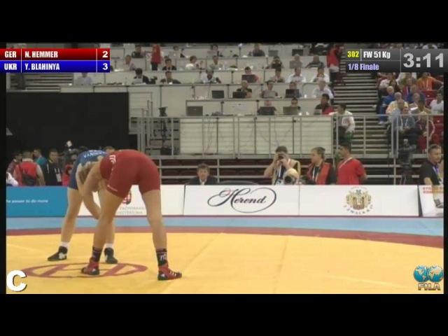 2013 WOCS 51kg Women 1 8 Finale Nina Hemmer GER BLAHINYA Yuliya UKR