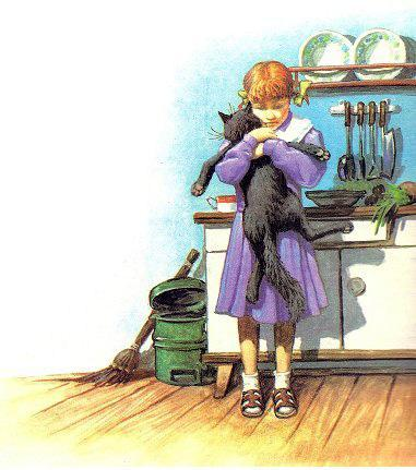Девочка обнимает кота
