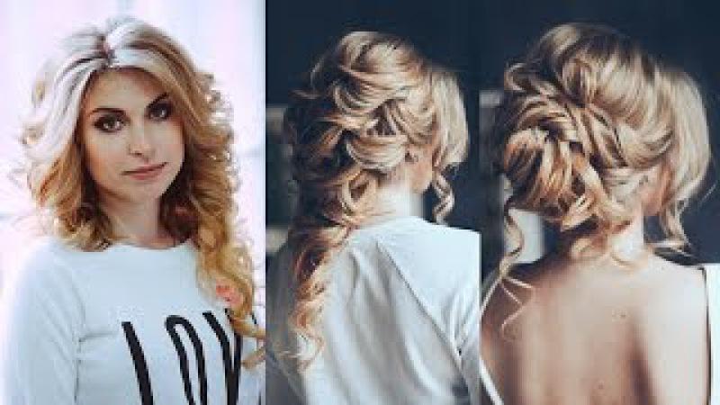 свадебная прическа для светлых волос . Греческая коса, низкий пучок и объемные локоны
