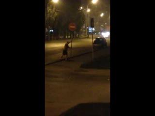 Мужчина ломает дорожный знак (19.07.2016)