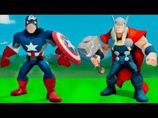 Супергерои мультфильм - Тор и Капитан Америка играют с машинками ТАЧКИ дисней. Игра для детей