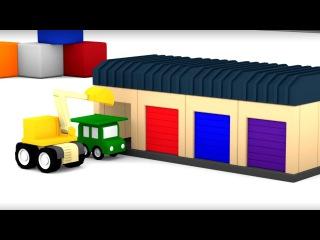 Cuatro coches coloreados. Grúa& Excavadora y un Garaje. Caricaturas de carros para Niños