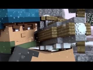 Мультфильм про майнкрафт #6 Игра в снежки Майнкрафте (мульт,прикол,новый год)