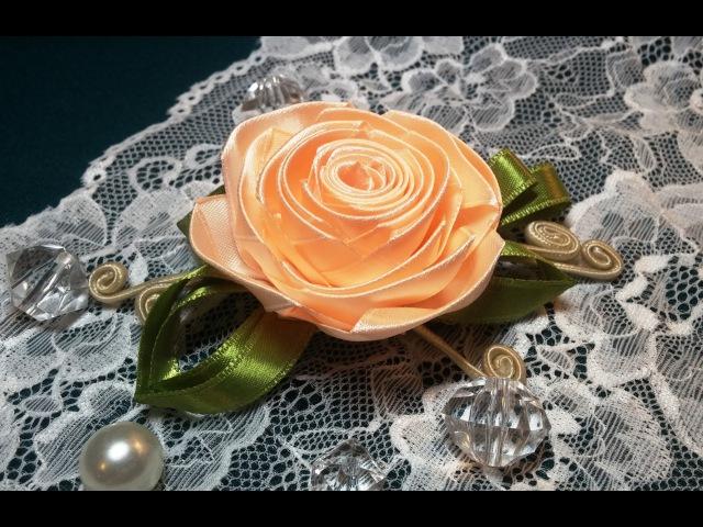 Ribbon flowers: rose from the narrow ribbon/Цветы из лент: роза из узкой ленты.МК