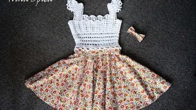 Комбинированное платье крючком (часть 1 из 2)/ Crochet and sew dress